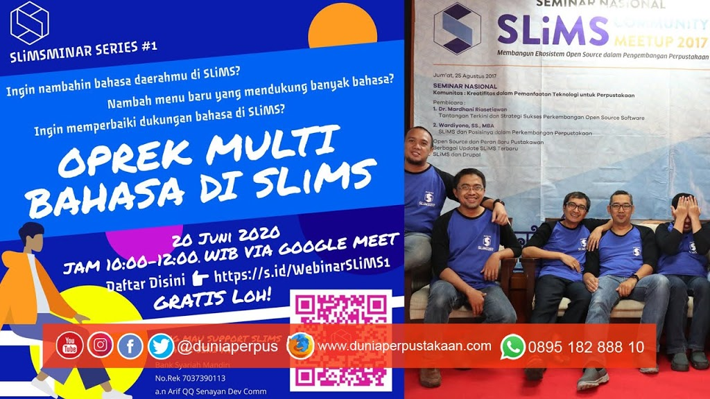 GRATIS! Oprek Multi Bahasa di SLiMS Bersama Developer SLiMS via Google Meet
